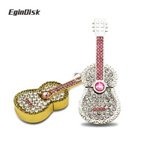 Rhineston Guitar Usb Flash Drive 32gb 16gb 8gb Crystal Pendrive Jewelry Disk On Key Fine Gift Memory Stick Real Capacity U Disk(China)