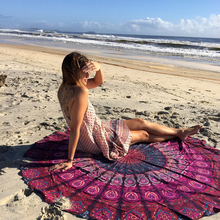 Limit buy Round Ethnic Pattern Beach Towel Yoga Mat Tippet Chiffon Tablecloth Purple