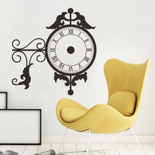 & flower vine decoration Wall Sticker real clock watch 3d living room dinning room backdrop office coffee shop wall decals(China)