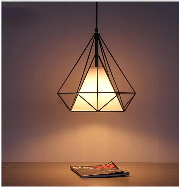 new American country loft style diamond 38/45/50cm iron pvc e27 pendant light for living room dining room bar restaurant DY-1345<br><br>Aliexpress