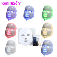 KONMISON LED Facial Mask 3/7 Color LED Photon Facial Mask Wrinkle Acne Removal Face Skin Rejuvenation Facial Massage Beauty Mask(China)