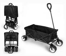 HLC Collapsible Folding Utility Wagon Black Strong Solid Frame durable 600 Denier Polyester Fabric Xmas Gift