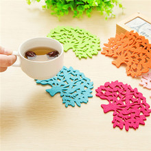 10 Pcs Hot Sale Colorful Jelly Color Placemats Table Mat Lovely Home Felt Tree Shape Coasters Creative Skid insulation Pad HA92