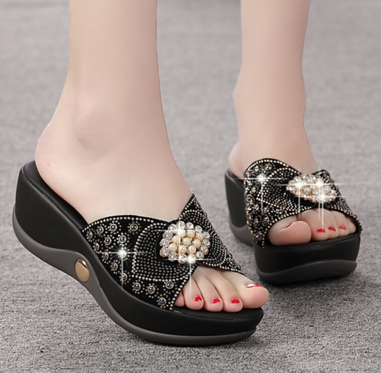 2017 fashion beads women sandals summer comfortable Genuine leather woman high-heeled sandals non-slip comfortable casual shoes<br>