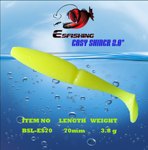 "6pcs 7cm/3.8g Esfishing Easy Shiner Shad 2.8"" Fishing Lure Soft Plastic Bait Swimbait  Iscas Tackle Leurre Souple"