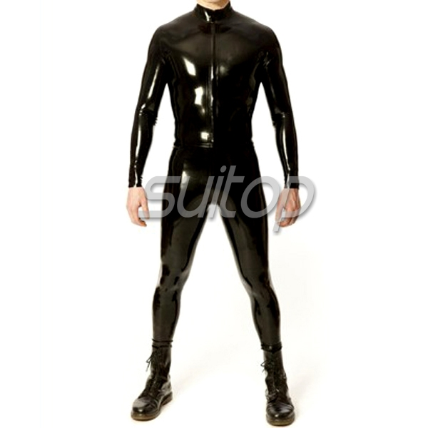 Neck Entry Rubber Latex Catsuit with Inflatable Tail Fashion Cosplay Costume