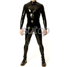 Buy Fashion Latex Rubber Neck Entry Catsuit Crotch Zip