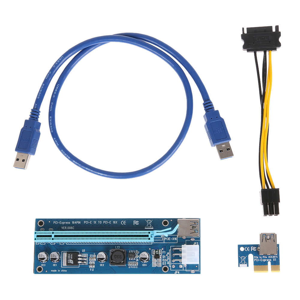 PCI-E PCIE Riser Card Express 1X 16X Extender Riser Graphic Card Adapter SATA 15Pin-6Pin Power Cable BTC Mining 60cm Cord