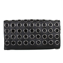 ASDS Woman Shoulder Bag PU Leather Clutch Shoulder Bag Black with Punk Rock Studs