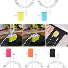 US Type Candy Color Glow Charger 3USB 5V 3.1A Smart Travel Charger for Samsung Huawei Xiaomi Charger Head with Micro USB Cable