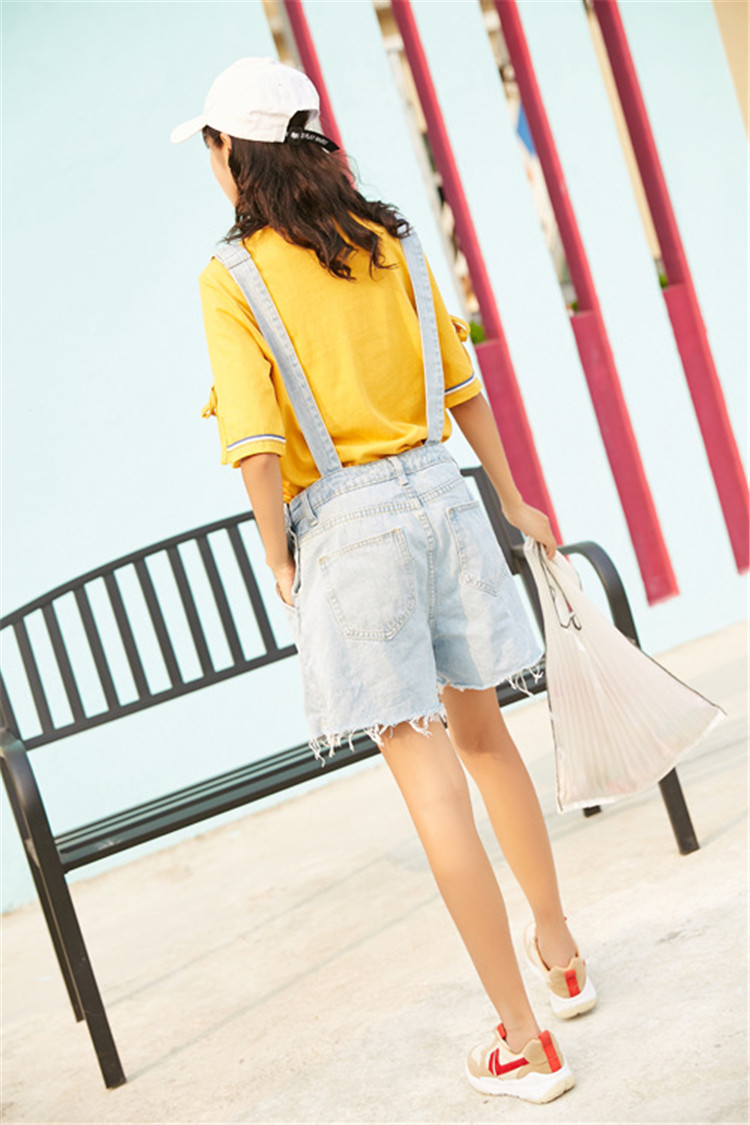Summer new college style sweet diagonal personalized pockets skirts pants denim shorts female (6)