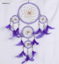 new creative purple feather dream catcher decor 5 circle big home wall hanging party room decoration idea christmas gift