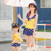 Maggie's Walker Summer Family Matching Swimsuit Mother and Daughter Baby Swimming Dresses Wave Point Seaside Holiday Swimsuit