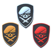 1 PC Skull Berets Special Forces 3D PVC Badge Beret Soldier Morale Military Armband Tactical Badge 7*8.5CM