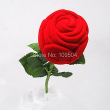 Nice ring box soft velvet Red Rose ring box for that Special Occasion gift box Valentine day Gift ZBX20(China)