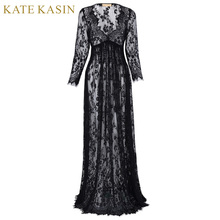 Kate Kasin Long Sleeve Lace Evening Dress for Pregnant Women Vintage Long Black Evening Gowns Vestido de Festa 2017 Party Dress