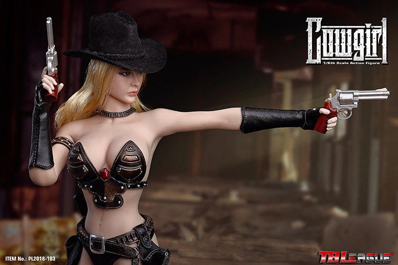 """2 SET TBLeague 1:6 Scale Cowgirl Revolvers With Holsters F12/"""" PH Female Action"""