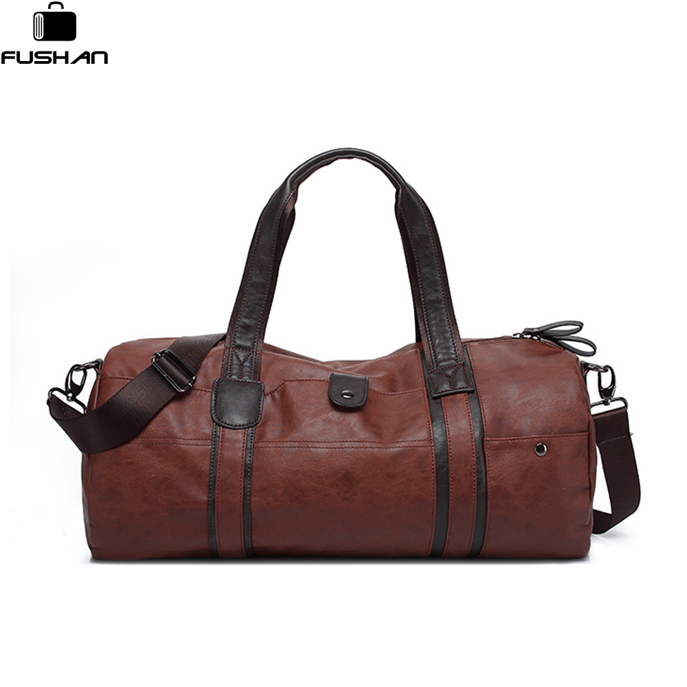 Brand Men Soft Leather Travel Bag Casual Men Leather Shoulder Bag &amp; Travel Tote Waterproof Fashion Bags Bolso Deporte Barrel<br>