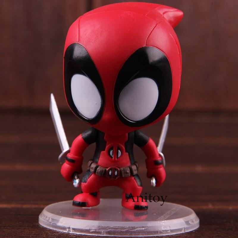 Marvel Hero X-Men Deadpool Dead Pool 7cm Figure Sitting Pose Loose Cute Hot