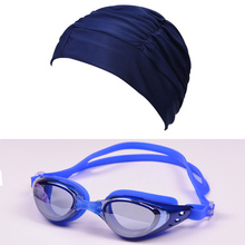 Swim Goggles Hat Set Waterproof Glasses anti-fog Eyewear Suit Elastic Swim Hats Adults Bathing Swimming Caps(China)