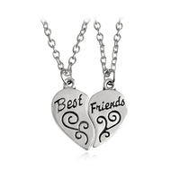 Best friends shop cheap best friends from china best friends 2pcsset heart shaped best friends silver pendant necklaces long section for friends bff mozeypictures Choice Image