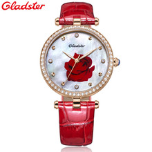 2016 Ladies Watches Top Brand Luxury Rose Mother of Pearl Dial Wrist Watch Red Leather Diamond Women quartz-watch Fashion Clock(China)