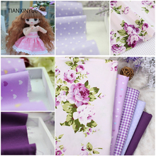 TIANXINYUE 5 pcs Purple 40*50cm 100% Cotton Fabric DIY Sewing Patchwork kids Bedding Bags Tilda Doll Cloth home Textiles Fabric(China)