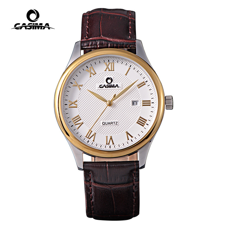 Men Wristwatches  fashion leisure business contracted classic mens quartz brown leather strap watch waterproof  CASIMA  #5116<br>