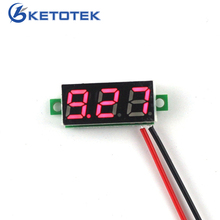"5PCS/LOT New 0.28"" Super Mini Digital Red Led Display Voltmeter DC 3.5-30V Car Volt Voltage Panel Meter Free shipping(China)"