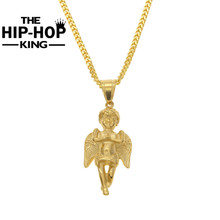 Gold Color Long Wing Angel Pendant Necklaces Titanium Steel Unisex For Men Women Hip Hop Jewelry Christmas Gifts
