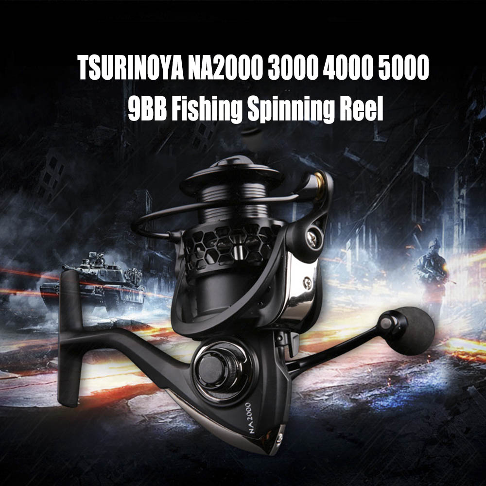 2016 TSURINOYA Fishing Reels Durable Black Fishing Reel High Quality NA2000 3000 4000 5000 9BB 5:2:1 Spinning Fishing Reel<br>
