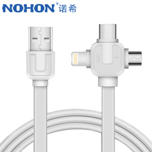 NOHON Universal 3 1 Lighting Charging&Sync Data Cable iPhone 7 8 6s Plus X Micro USB Type-C Fast Charge Cables Xiaomi