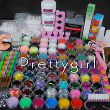 Acryl Nails Acrylic Powder Set 120ml Acrylic Liquid Tips Glitter Deco 3D French Tips Rhinestone Nail Cutter Kit Manicure Set(China)
