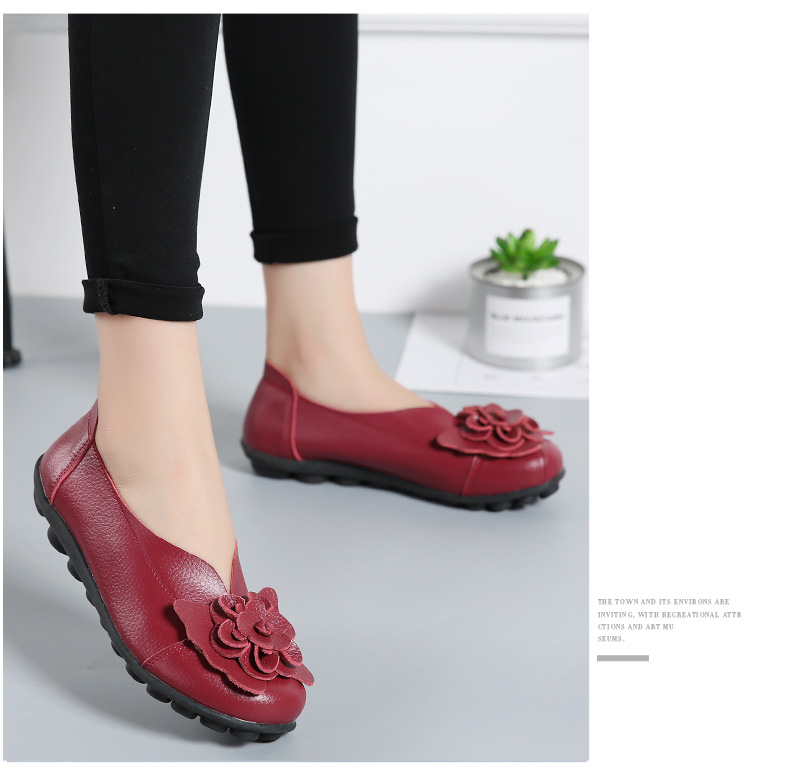 Women Real Leather Shoes Flower Moccasins Mother Loafers Soft Leisure Flats Casual Female Driving Ballet Footwear Women Shoes 27