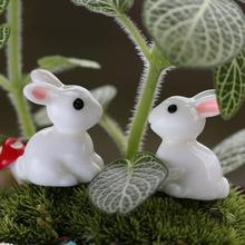 Hot Sale 1 Pair Mini Rabbit Ornament Miniature Figurine Plant Pot Garden Decor Toys Home Crafts Classic Art Collectible(China)