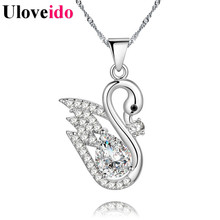 15% Off Uloveido Cute Anime Swan Necklaces & Pendants Silver Color Choker Necklace Female Pendant Gifts Colar Suspension PN4364