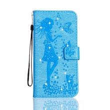 for iPhone 6 Plus Imprinted Fairy and Butterfly Pattern Crystal Leather Wallet Phone Case for iPhone 6s Plus / 6 Plus Baby Blue