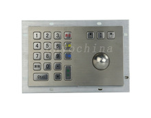 Metal Kiosk Keyboard with Trackball Mechanical trackball keyboards rugged keyboards vandal proof keypads