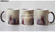 96pcs Newest Design Zombie Color Changing Coffee Mug Heat Senstive Magic Tea cup Mugs Walking Dead Bloody hands gift(China)