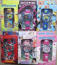 Wholesale mixed style spiderman, despicable me, violetta,hello kitty ... 10pcs/lot kids Watch with boxes Christmas gift