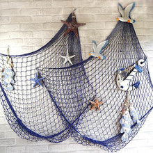 1x2M Mediterranean Sea style Decoration Net Shell Ornaments Wall Hangings Decor Crafts Scene Party Decor White Blue A3(China)