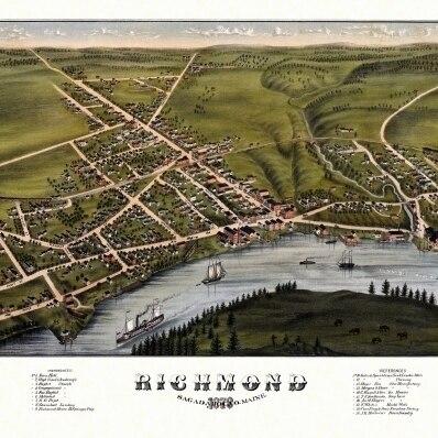 Vintage Map of Richmond Maine 1878 Sagadahoc County Poster Print (36 x 54)