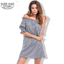 2017 Summer New Arrivals Slash Neck Sexy Strapless Petals Personality Sleeve Dress Fashion and Casual Style Women Dress 196G 30(China)