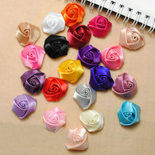 A Bag 100Pcs/Lot Handmade Size 2.5Cm Satin Fabric Rose Artificial Flower For Make Wedding Bouquet Decor DIY Accessories 18 Color(China)