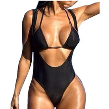 Buy Thong One Piece Swimsuit Women Swimwear 2018 Monokini Female One-Piece swim suit Padded Bathing suit Sexy Beachwear Bodysuit
