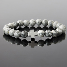 22016 New 8mm Natural Gray Map Stone Beaded Bracelet Men Hematite Gallstone Cross Bracelets For Women Elastic Charm Jewelry