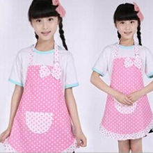 Cute Children Kids apron BowKnot Dot Kitchen Bib Cooking Aprons Bib Keep Cleaning Protector Avental Kitchen Tools(China)