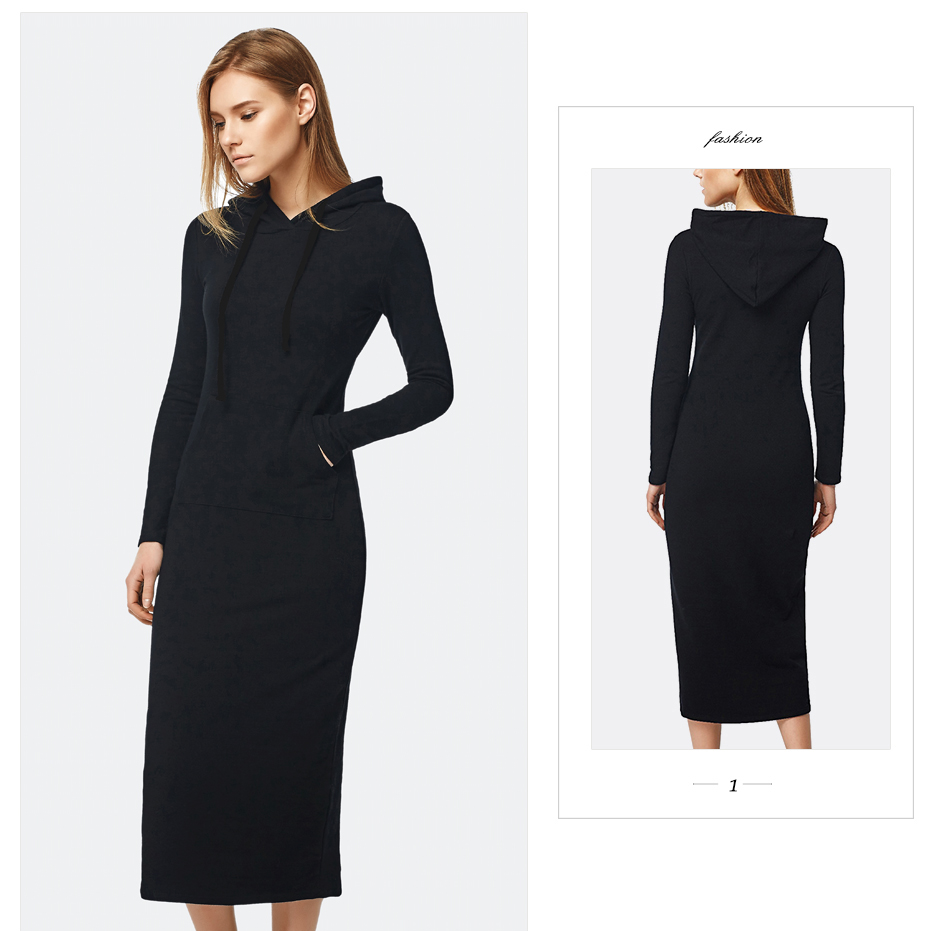 Oukytha 17 New Autumn&Winter Casual Long A-line Ankle-length Dress Hooded Pockets Cotton Long Sleeves Lady Thick Dress M15322 6