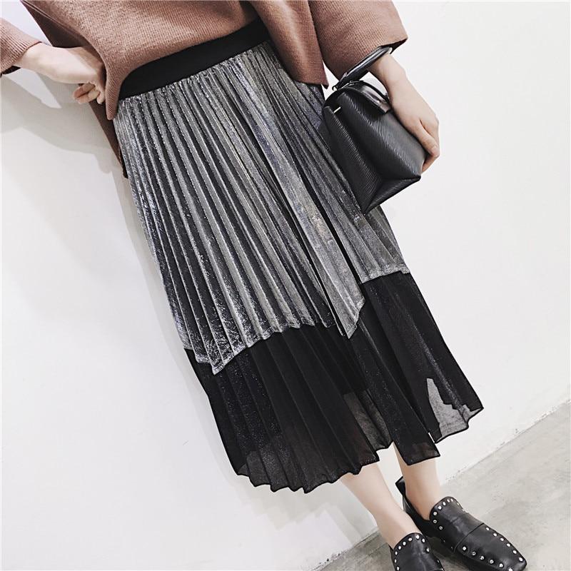 [GUTU] Autumn Summer 2018 Korean New Fashion Patchwork Color Bottoms All-match Elastic Waist Pleated Skirt Loose Women F89201 46