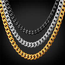 Stainless Steel Cuban Link Chain Necklace For Men 6MM Width Wholesale Black Gun/Gold Color Chain Mens Jewelry GN2276